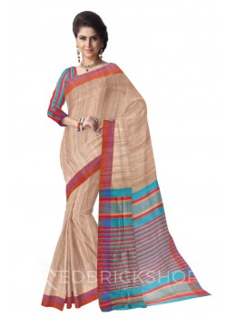 NATURAL BEIGE PURPLE, RED THREAD TURQUOISE BLUE STRIPES BHAGALPUR RAW SILK SAREE