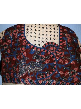 KALAMKARI PEACOCK VINE STARS MAROON, ROSE, BLUE, BLACK COTTON BLOUSE PIECE
