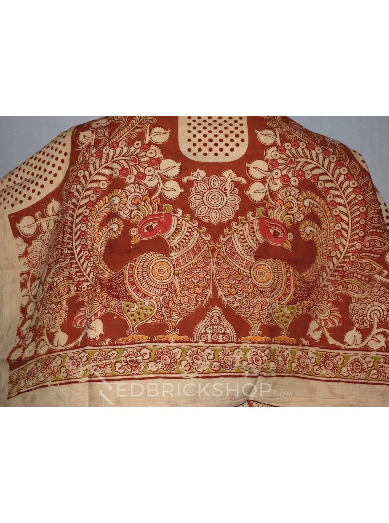 KALAMKARI PEACOCK POLKA RUST, CREAM, PINK, GREEN COTTON BLOUSE PIECE