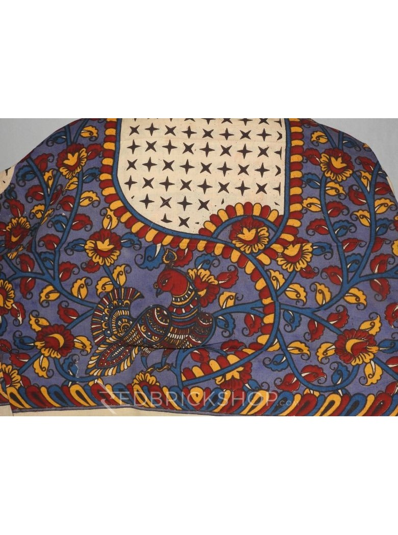 KALAMKARI PEACOCK VINE STARS MAUVE, BLUE, RED, YELLOW COTTON BLOUSE PIECE