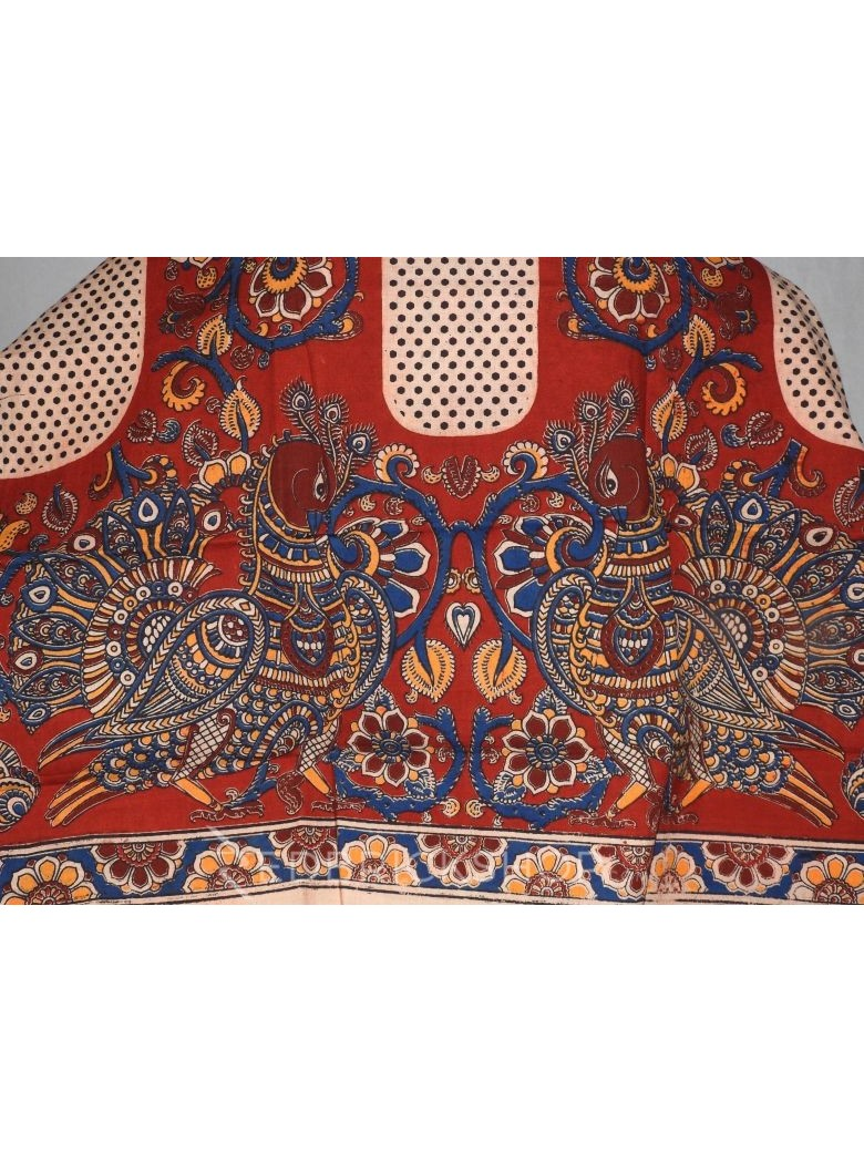 KALAMKARI PEACOCK VINE POLKA RED, MAROON, BLUE, YELLOW COTTON BLOUSE PIECE