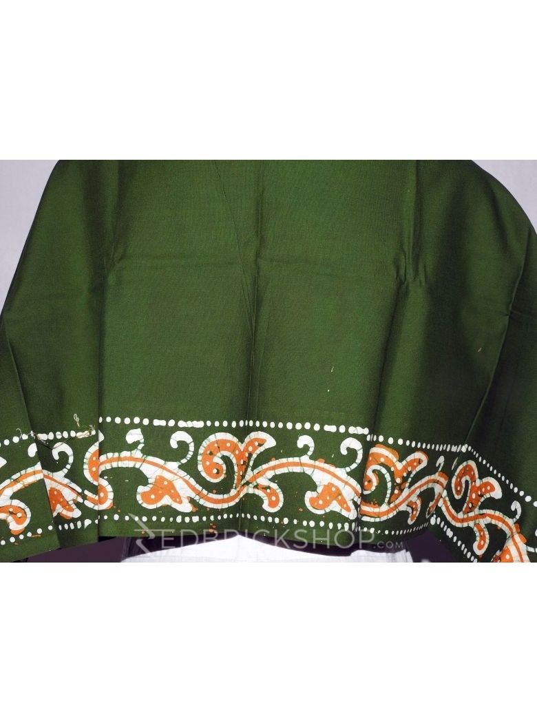 BATIK GREEN, RUST, WHITE COTTON BLOUSE PIECE