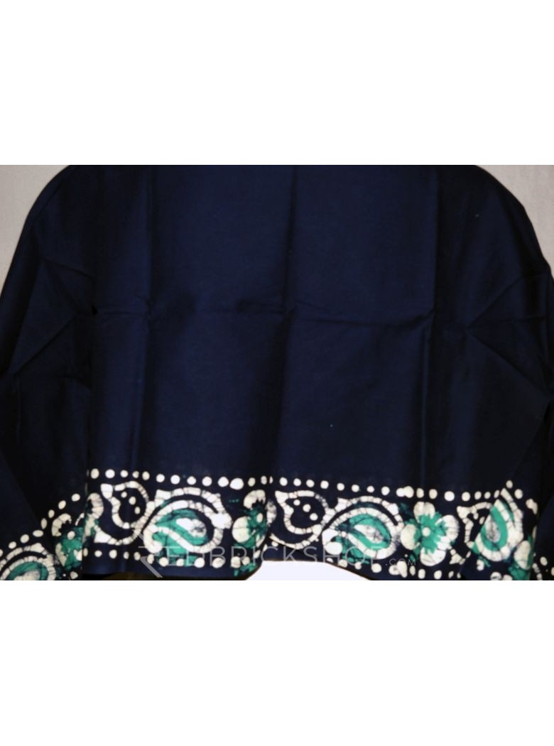BATIK NAVY, AQUAMARINE, WHITE COTTON BLOUSE PIECE