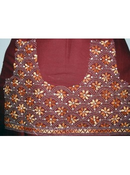 KANTHA FLORAL MAROON, RUST, BEIGE COTTON BLOUSE PIECE