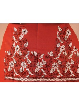 KANTHA FLORAL VINE RUST, WHITE COTTON BLOUSE PIECE