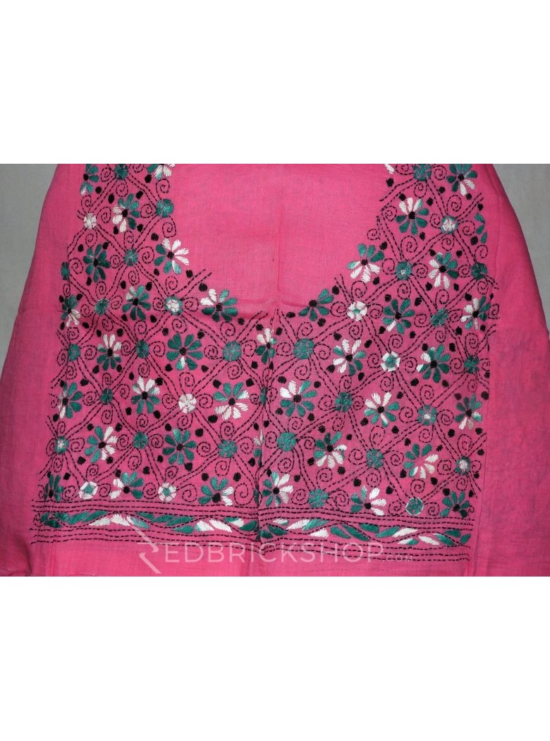 KANTHA FLORAL PINK, GREEN, WHITE COTTON BLOUSE PIECE