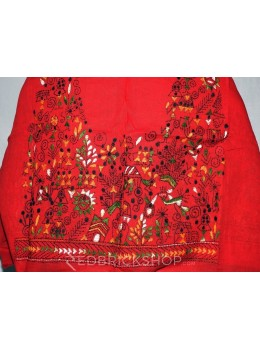 KANTHA DANCING GIRLS RED, YELLOW, GREEN COTTON BLOUSE PIECE