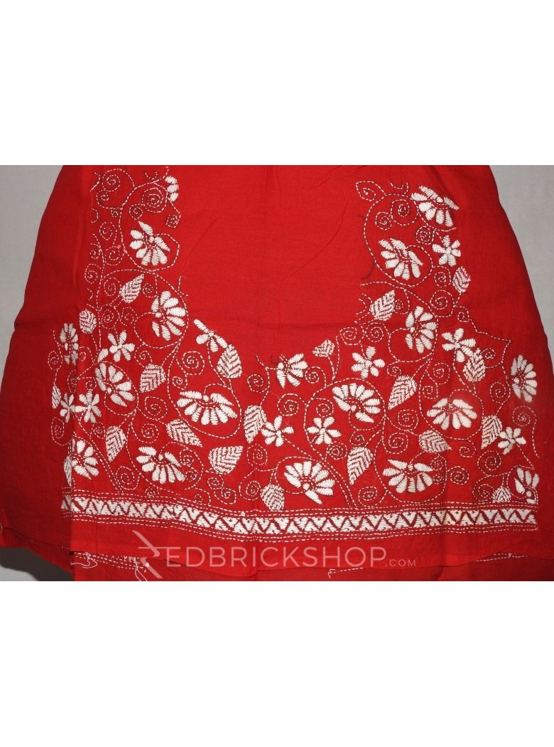 KANTHA FLORAL LEAF RED, WHITE COTTON BLOUSE PIECE