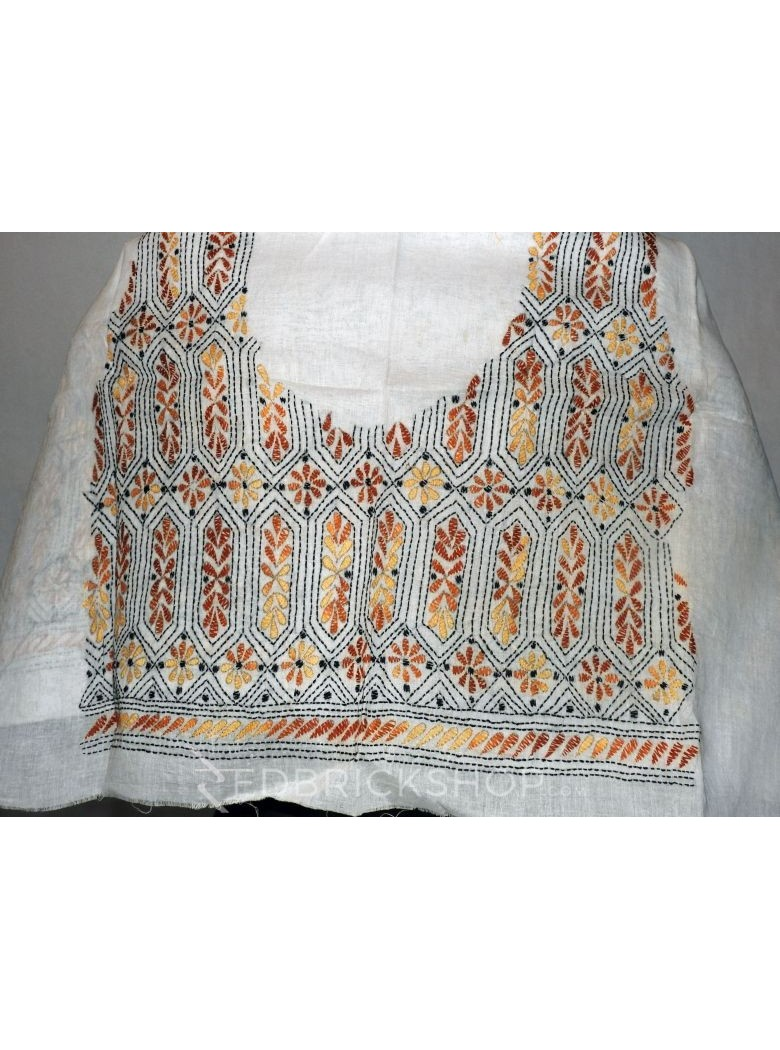 KANTHA HEX PANEL WHITE, RUST, BEIGE COTTON BLOUSE PIECE