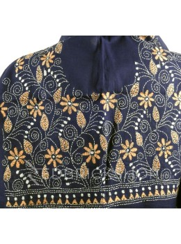 KANTHA BIG FLOWER, LEAF, NAVY, BLUE, BEIGE, WHITE COTTON BLOUSE PIECE