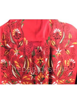 KANTHA POINTED FLOWER, LEAF, RED, YELLOW, GREEN, BLACK, WHITE COTTON BLOUSE PIECE