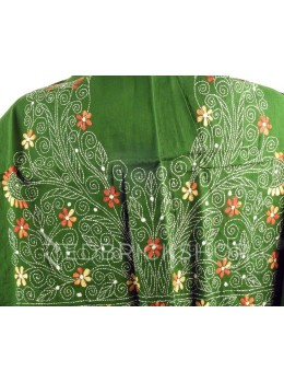KANTHA SMALL FLOWER, GREEN, CREAM, RUST, WHITE COTTON BLOUSE PIECE
