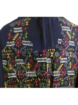 KANTHA FIREWORK GIRL NAVY, BLUE, RED, GREEN, YELLOW, WHITE COTTON BLOUSE PIECE