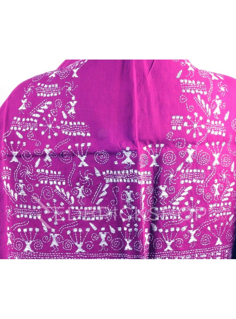 KANTHA FIREWORK GIRL PURPLE, WHITE COTTON BLOUSE PIECE