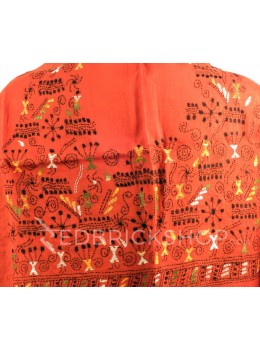 KANTHA FIREWORK GIRL RUST, GREEN, BLACK, YELLOW, WHITE COTTON BLOUSE PIECE