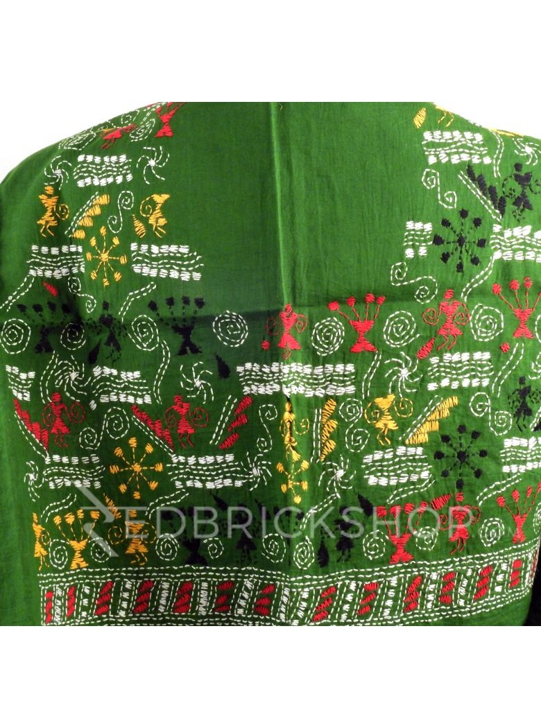 KANTHA FIREWORK GIRL GREEN, RED, YELLOW, BLACK, WHITE COTTON BLOUSE PIECE