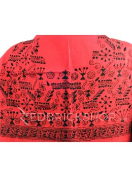 KANTHA FIREWORK GIRL RED, BLACK COTTON BLOUSE PIECE