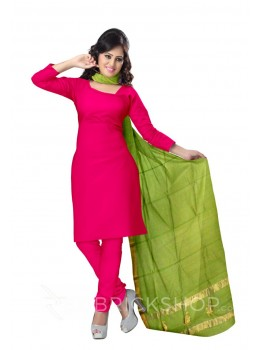 CHANDERI PLAIN SHRUB BORDER GREEN DUPATTA