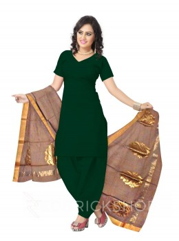 CHANDERI BIG FLOWER BORDER BROWN DUPATTA