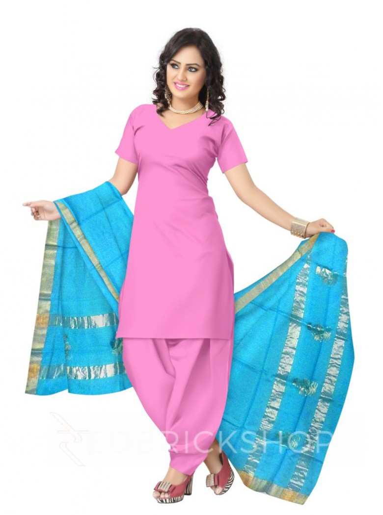 CHANDERI PLAIN SHRUB TURQUOISE BLUE DUPATTA