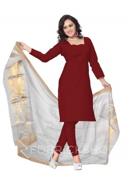 CHANDERI PLAIN LOTUS STRIPE OFFWHITE DUPATTA