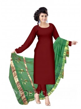 CHANDERI PLAIN DHOOP CHAON LOTUS BORDER GREEN DUPATTA