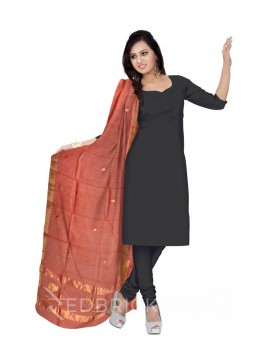 CHANDERI LOTUS STRIPE PEACH DUPATTA