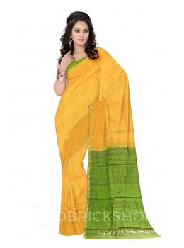 CHANDERI WARLI YELLOW, GREEN SILK COTTON SAREE