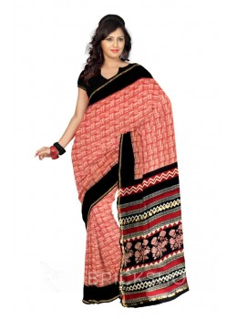 CHANDERI SQUARES RED, CREAM, BLACK SILK COTTON SAREE