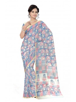 CHANDERI FLORAL CURL BLUE, PINK SILK COTTON SAREE