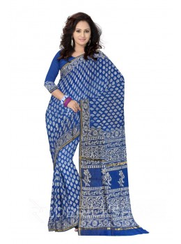CHANDERI FLOWER BLUE SILK COTTON SAREE