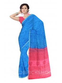 CHANDERI LEAF BLUE, PINK SILK COTTON SAREE