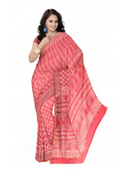 CHANDERI FLOWER ROSE, PINK SILK COTTON SAREE
