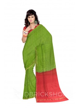 CHANDERI DIAGONAL SUN GREEN, RED SILK COTTON SAREE
