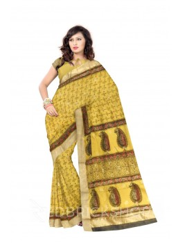 CHANDERI FAN YELLOW, RED SILK COTTON SAREE
