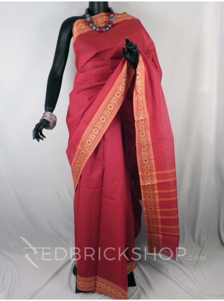 CHETTINAD PLAIN FLORAL RED COTTON SAREE