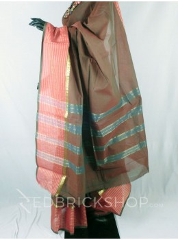 CHETTINAD PLAIN BROAD STRIPE DHOOP CHHAON OLIVE GREEN COTTON SAREE