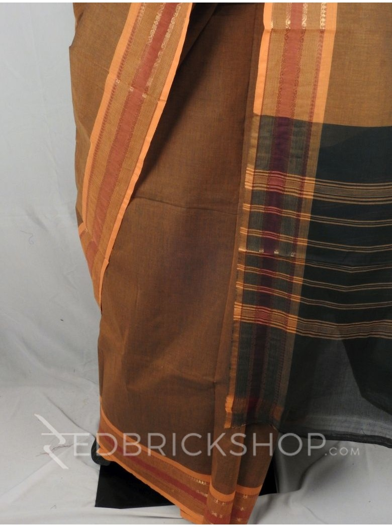 CHETTINAD PLAIN STRIPES DHOOP CHHAON MUSTARD YELLOW COTTON SAREE