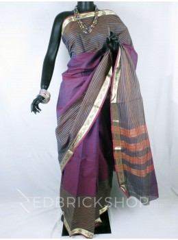 CHETTINAD PLAIN BROAD STRIPES DHOOP CHHAON MAROON COTTON SAREE