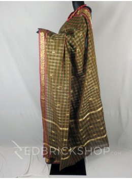 CHETTINAD CHECKS MEHENDI GREEN, RED COTTON SAREE
