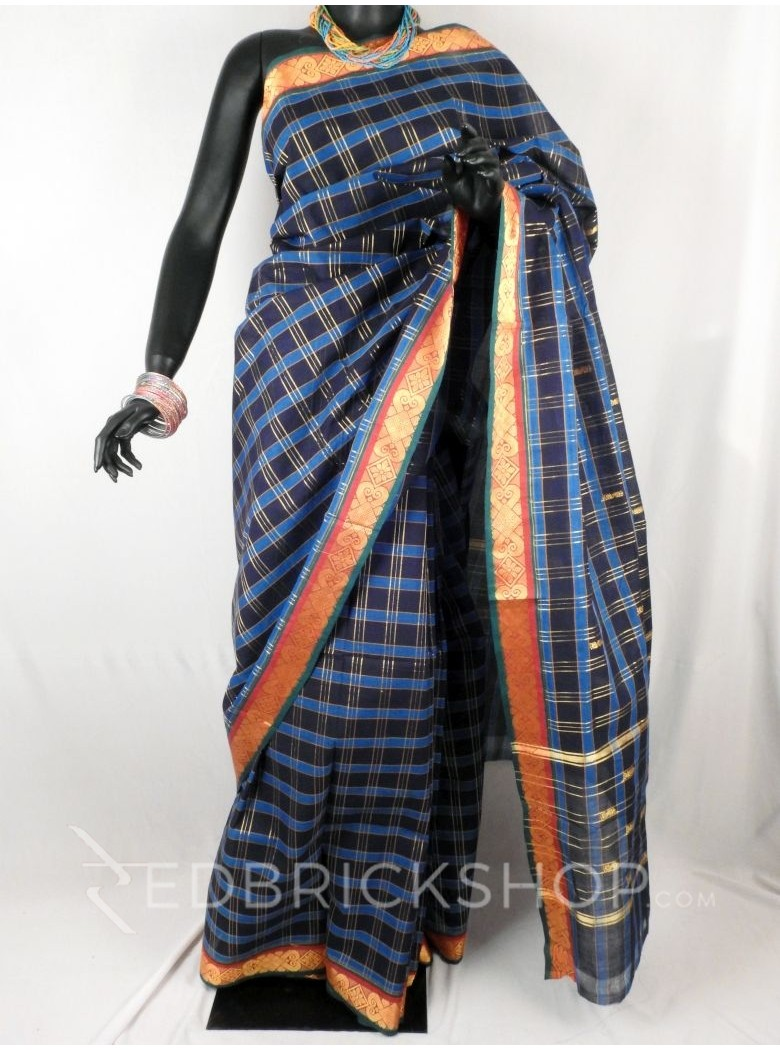 CHETTINAD CHECKS NAVY BLUE, TURQUOISE BLUE COTTON SAREE