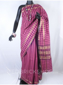 CHETTINAD STRIPES PINK, BLACK COTTON SAREE