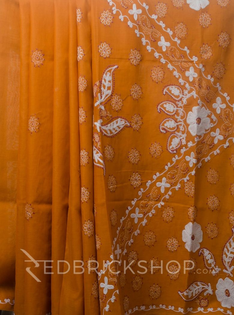 CHIKAN CHAIN FLORAL SAFFRON COTTON SAREE