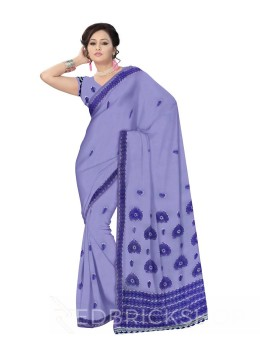 CHIKAN CROCHET PURPLE COTTON SAREE