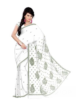 CHIKAN PAISLEY FLOWER WHITE-OLIVE COTTON SAREE
