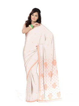 CHIKAN FLORAL FLOWER WHITE-ORANGE COTTON SAREE