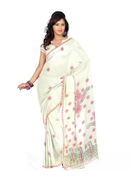 CHIKAN JAALI CROSS LEMON COTTON SAREE