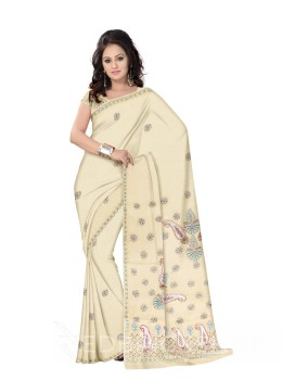CHIKAN JAALI CROSS CREAM COTTON SAREE
