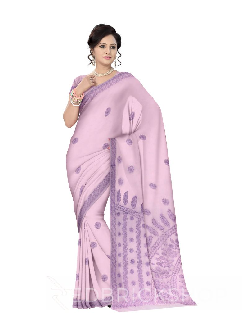 CHIKAN FLORAL CORNER PURPLE COTTON SAREE