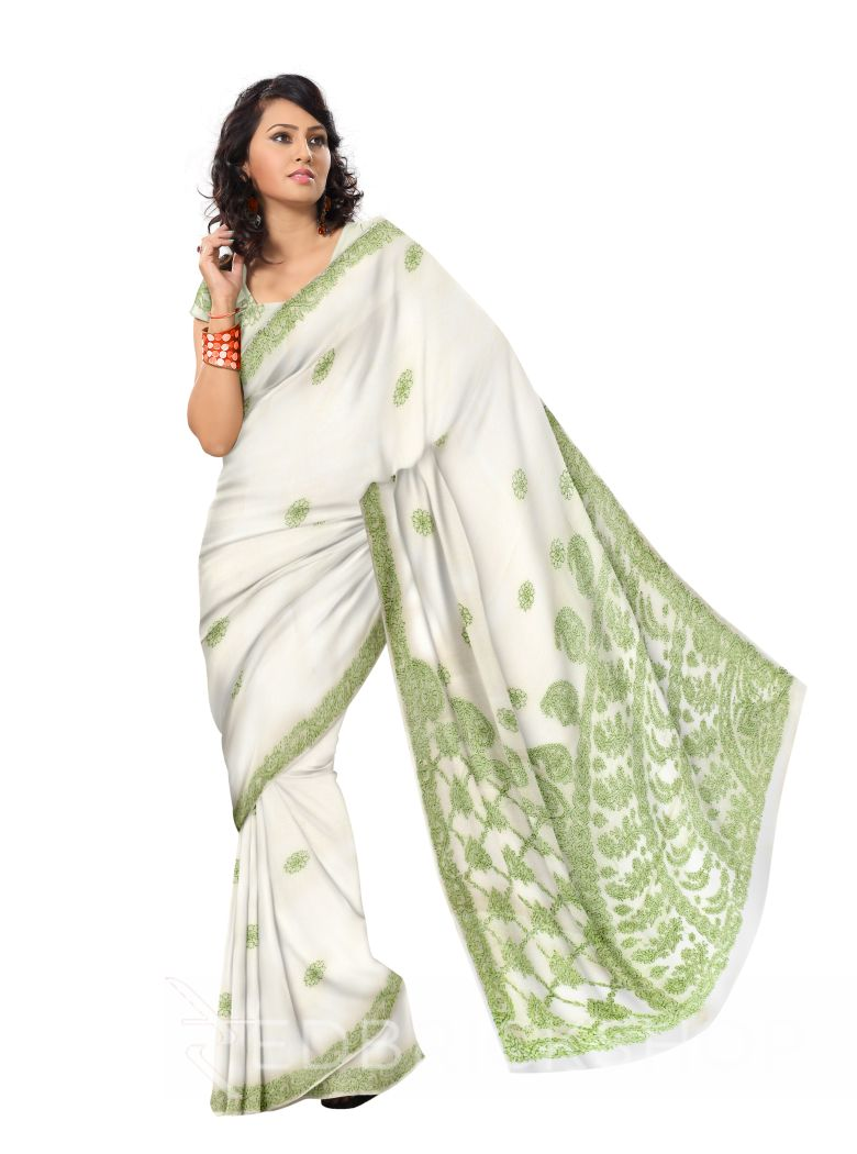 CHIKAN FLORAL CORNER OFF WHITE COTTON SAREE